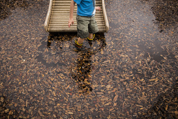 Midsection of boy standing in leaves covered lake
