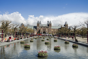 Rijksmuseum against cloudy sky on sunny day