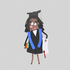 Worried  Graduate black student 