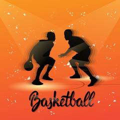Basketball Player Sportsman Sport Competition Black Silhouette Man Flat Vector Illustration