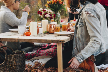 Cropped image of woman photographing friends sitting at table on field