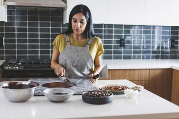 Woman making dessert in the kitchen
