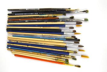 painting brushes on isolated white background