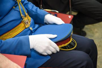 blue ceremonial military uniform
