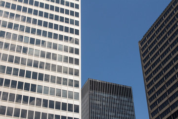 Financial Buildings stretch up to the blue sky