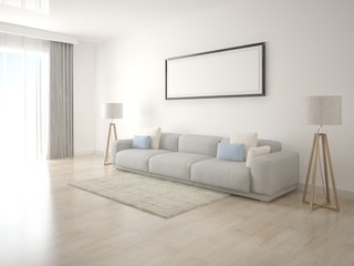 Mock up poster living room with empty frame on a white background.