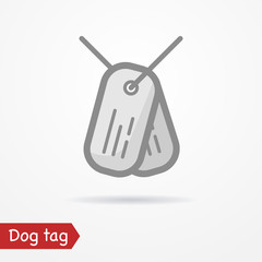 Typical simplistic army tag plates. Dog tag isolated icon in flat line style with shadow. Military and war vector stock image.