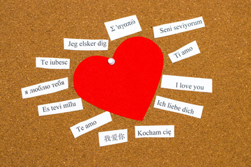 I Love You. Words printed on paper in different languages