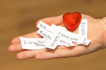I Love You. The words, printed on paper in different languages o