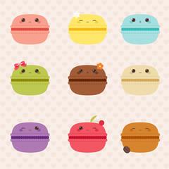 Kawaii macarons icons set