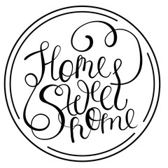 Vector home sweet lettering text isolated free style.