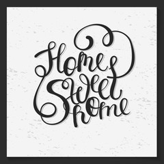 Vector home sweet lettering text free style.
