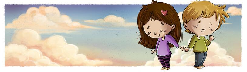 niños enamorados en el cielo