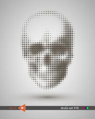 Halftone skull, line, Smiley, circles, bubbles. Design element. Invitation, party. Billboard, flyer. Musical poster.