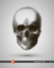 Halftone skull, line, square, rectangle, circles, bubbles. Design element. Invitation, party. Billboard, flyer. Musical poster.
