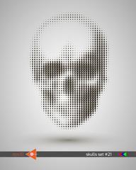 Halftone skull, line, dollar, circles, bubbles. Design element. Invitation, party. Billboard, flyer. Musical poster.
