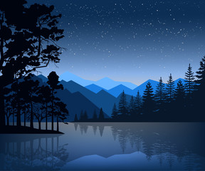 Nature backdrop of mountains and lake landscape with silhouette trees