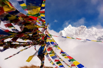 Annapurna I mountain with prayer flag from Annapurna base camp ,Nepal.
