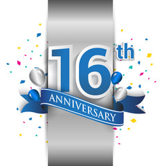 16th anniversary logo with silver label and blue ribbon, balloons, confetti. 16 Years birthday Celebration Design for party, and invitation card