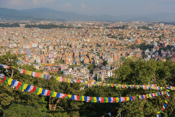 Aerial view of city from Swayambhunath Stupa ,Kathmandu, Nepal.