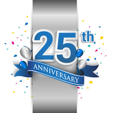 25th anniversary logo with silver label and blue ribbon, balloons, confetti. 25 Years birthday Celebration Design for party, and invitation card