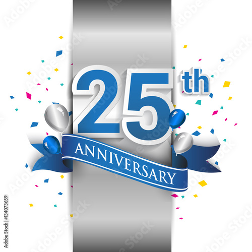 quot 25th anniversary logo with silver label and blue ribbon Religious Ribbon 25th Business Anniversary Postcard