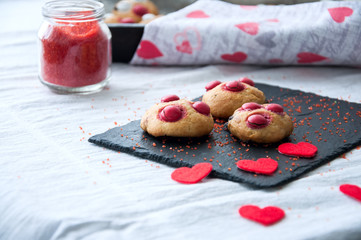 Homemade shortbread cookies with red candies