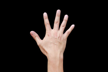A hand shows in signal of paper or number five on black background.