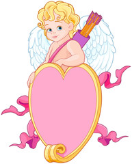 Cupid over a Heart Shape Sign