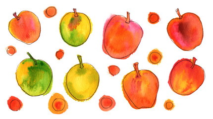 Vibrant quirky watercolor and ink apples on white