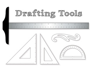 Drafting tools for architecture and engineering: aluminum T-square with inch and centimeter measure, 45 degree triangle, 60 degree triangle, ruler, French Curve and protractor. EPS8 compatible.