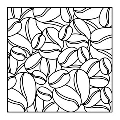 pattern square shape with coffee beans vector illustration