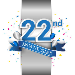 22nd anniversary logo with silver label and blue ribbon, balloons, confetti. 22 Years birthday Celebration Design for party, and invitation card