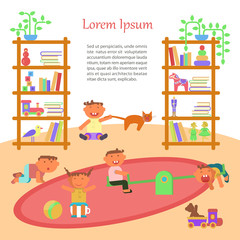 Happy childhood banner. Children playing inKindergarten. Vector illustration eps 10