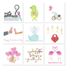 Set of Valentines day banners with cute animals, love and heart. Vector illustration eps 10.