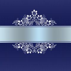 Elegant blue border with white floral ornament