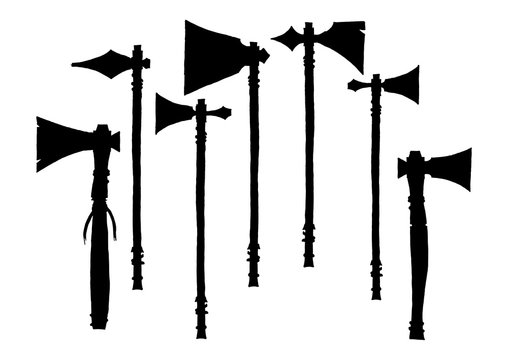 Set of silhouettes american indian tomahawks