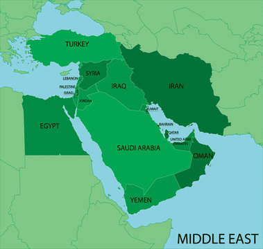 Middle East Map - Green