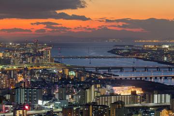 Sunset over Osaka city and river skyline, Japan