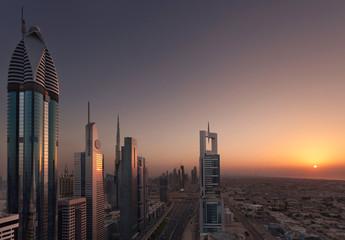 Dubai Shiekh Zayed Road Sunset