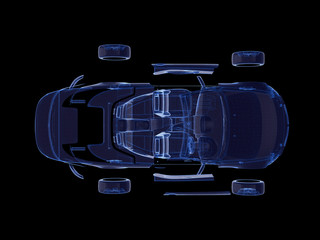 Disassembled car x-ray blue transparent with Wireframe.3D rendering