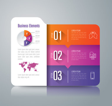Folder infographic design vector and business icons with 3 options.