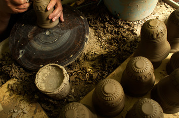 Manual production of ceramic products according to old recipes