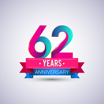 62 years anniversary logo, blue and red colored vector design