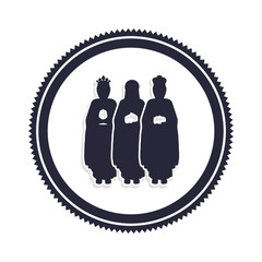 silhouette border with the three wise men vector illustration