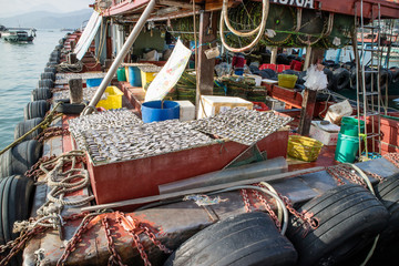 Fishing boat and its drying fish under the sun