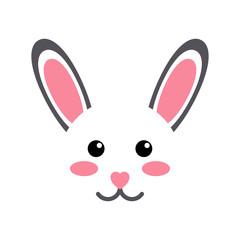 Icono plano cabeza de conejo kawaii en fondo blanco