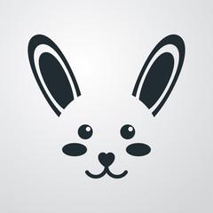 Icono plano cabeza de conejo kawaii en fondo degradado