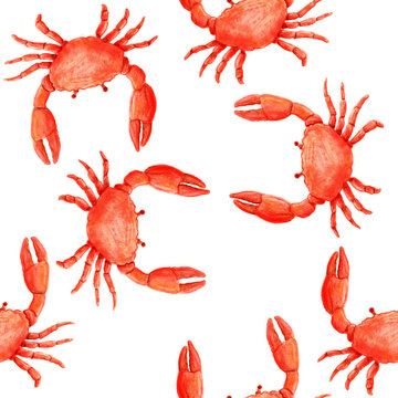 Seamless pattern with red crab in watercolor style on white background.
