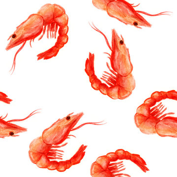 Seamless pattern with red shrimp in watercolor style on white background.